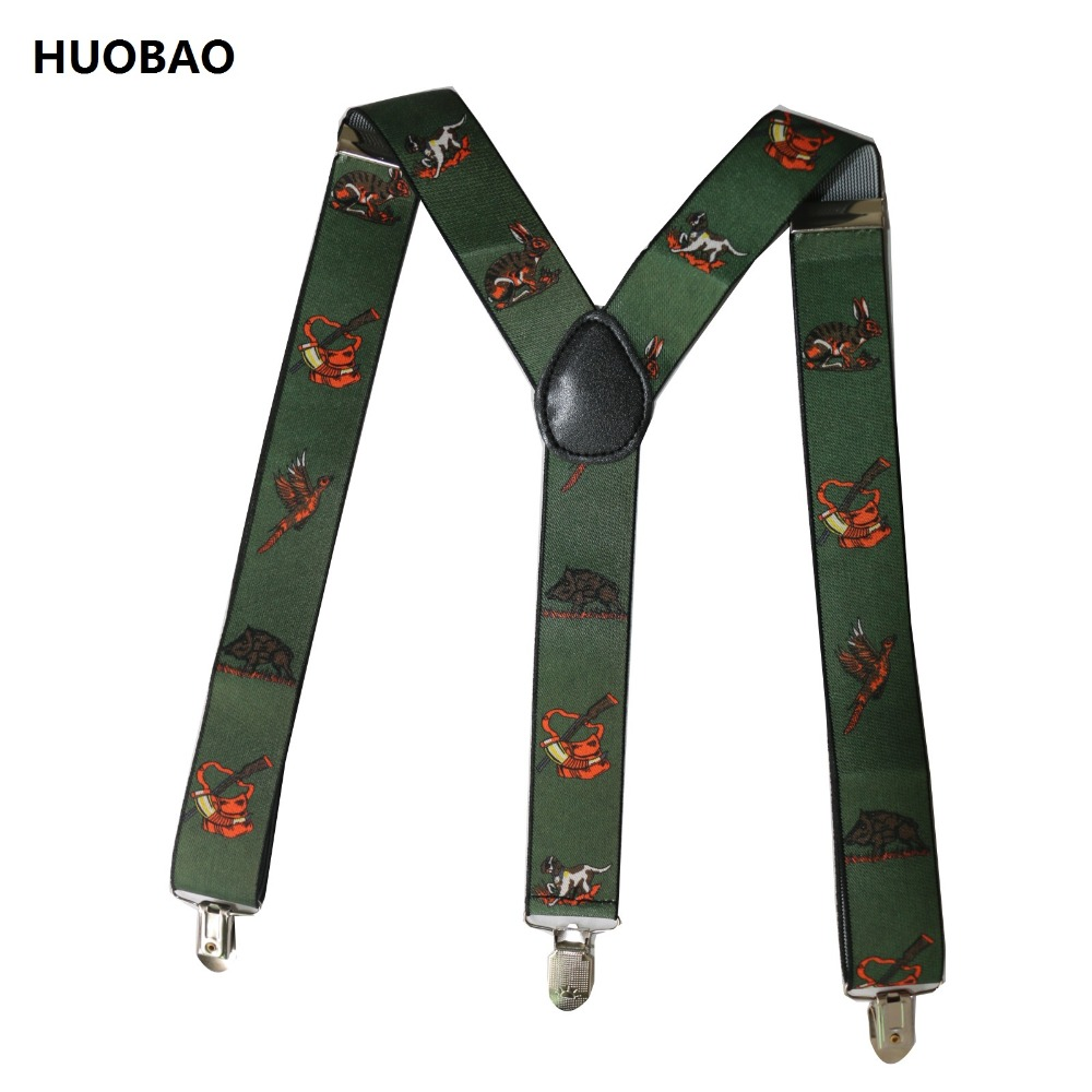2018 New Men Adjustable 3.5cm Wide Heavy Duty Y-Back Hunters And Animals Suspenders For Mens