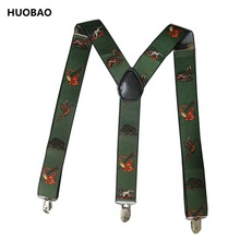 цена на 2017 New Men Adjustable 3.5cm Wide Heavy Duty Y-Back Hunters And Animals Suspenders For Mens