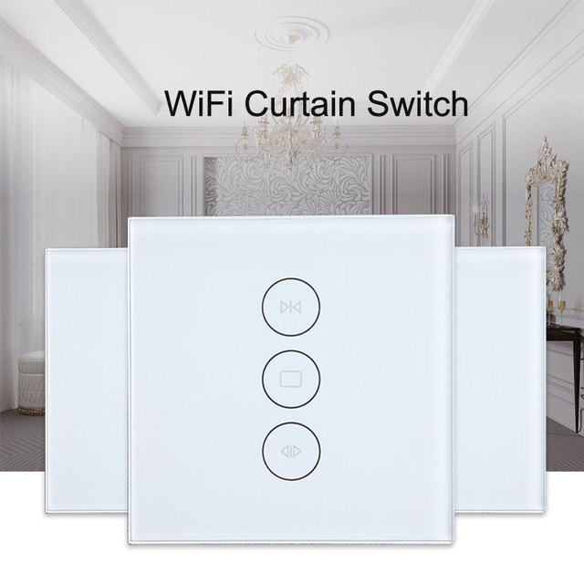 US $20 9 25% OFF Tuya app EU wifi smart touch curtain switch voice control  by Alexa and Google phone control For Electric curtain motor-in Smart