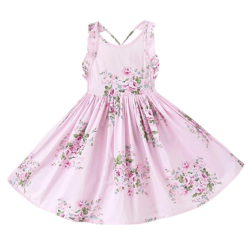 Фото PluckyStar Summer Floral Girls Dress Cotton Sleeveless A-Line Dresses For Girl Children Sling Sundress vestidos meisjes jurk D01