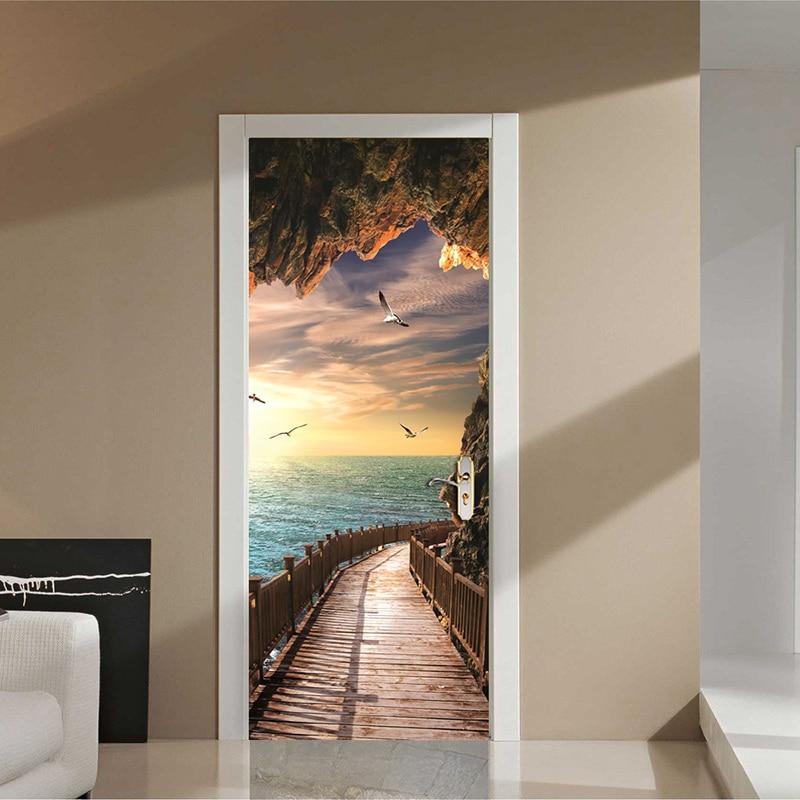 Cave Wooden Bridge Sunrise Seascape 3D Door Sticker Mural Wallpaper Living Room Bedroom PVC Waterproof Door Stickers Home Decor