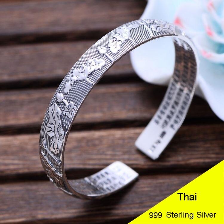 77ddc0f8a0fd Cheap Moda 999 plata de ley brazalete abierto mujer Thai plata Lotus  budista escritura corazón Sutra