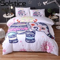 Solstice Fashion Classical Bohemian Style Duvet Cover Set 3pcs Cartoon Elephant Bedding Sets Pillowcases Double Queen King Size