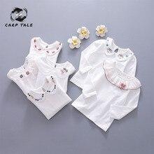 цены на 2019 spring and autumn girls bottoming shirt baby clothes spring and autumn female children spring lapel T-shirt cotton shirt  в интернет-магазинах