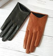 Womens Spring Autumn Natural Sheepskin Leather Gloves Female Genuine Leather Punk Style Rivet Motorcycle Driving Gloves R755
