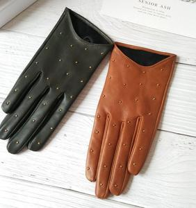 Image 1 - Womens Spring Autumn Natural Sheepskin Leather Gloves Female Genuine Leather Punk Style Rivet Motorcycle Driving Gloves R755