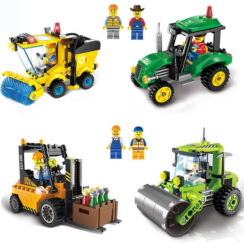 Single Sales City Series Tractor Sweeper Kids Children DIY Assembled Building Blocks Toys