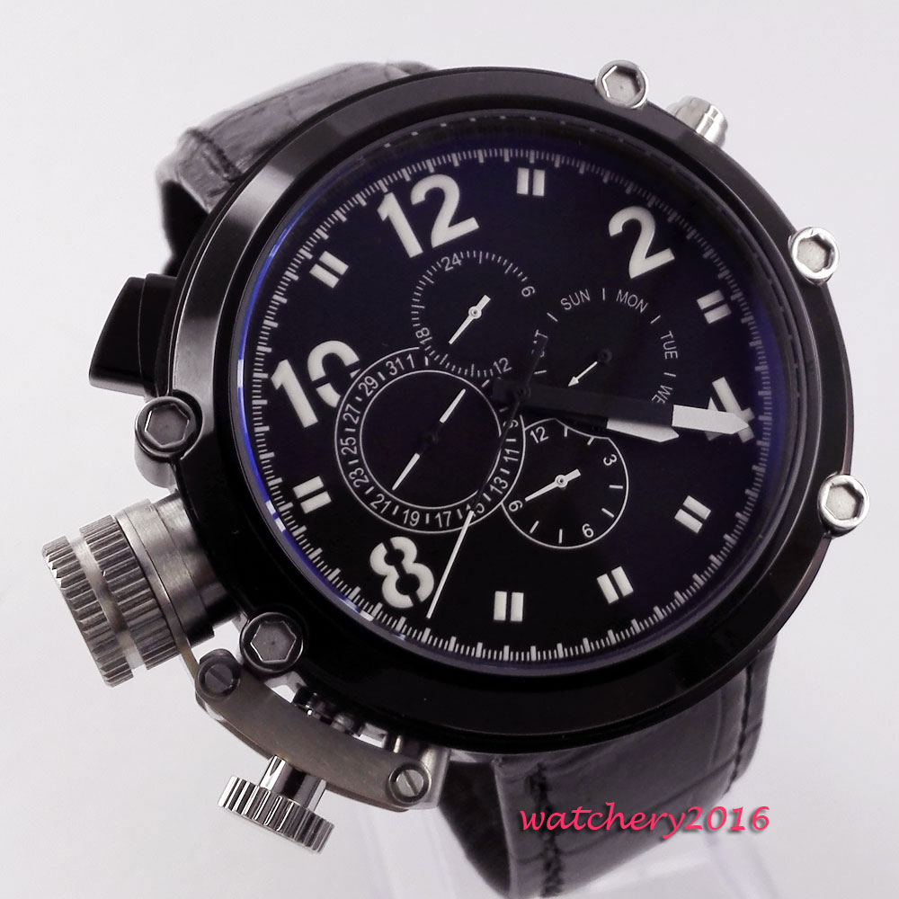 50mm Parnis Black dial SS PVD Coated Newest Hot top brand Luxury week date 24 hours