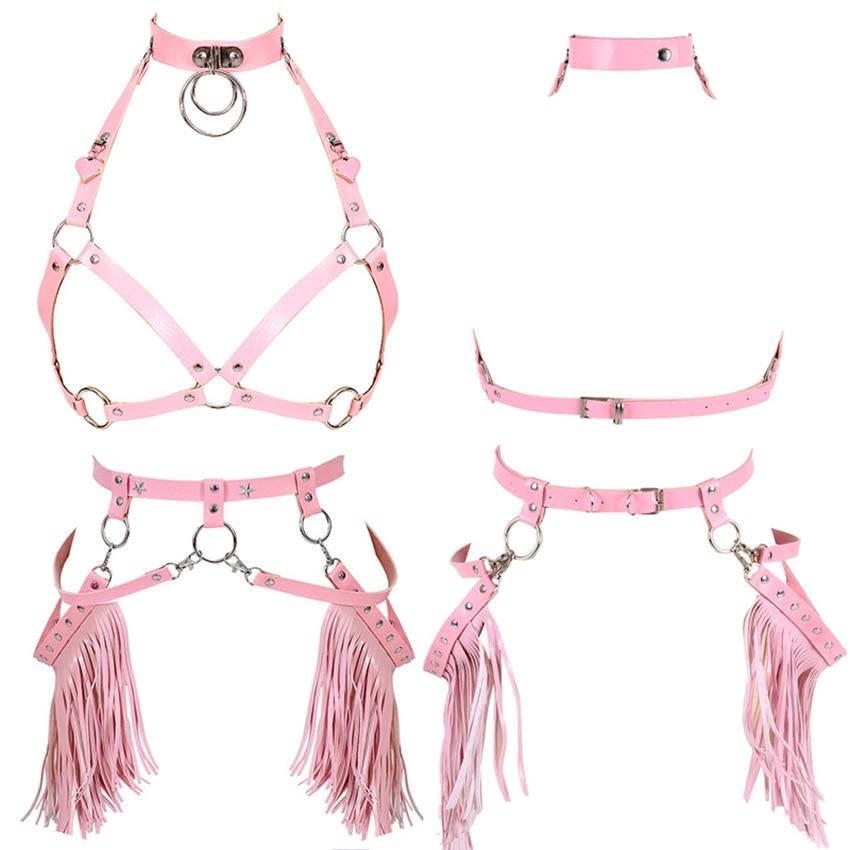 Cinto de liga de couro conjunto harajuku punk arnês sutiã borla cintos cinta superior gaiola pescoço corpo bondage festival rave dança arte roupas
