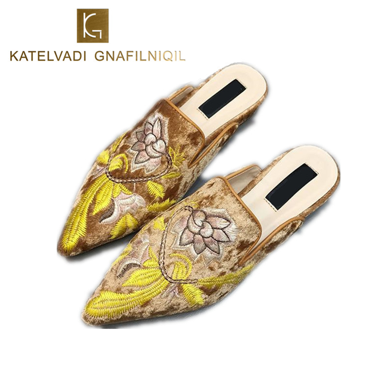 Luxury Embroider Women Mules Brown Slippers Woman Slip On Pointed Toe Flats Mules Slipper Shoes Fashion Ladies Slides K-204 phyanic fashion women s slide on slip on mule star bee embroidery loafer flats shoes slides slippers new woman mules outside