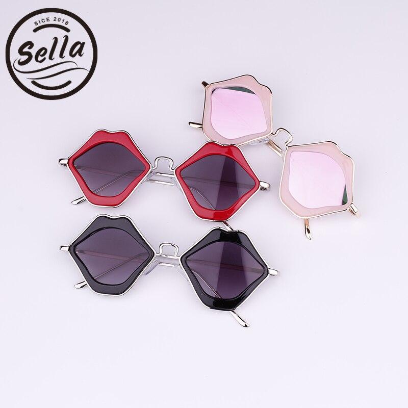 Sella New Popular Boys Girl Lip Shape Mirror Lens Sunglasses Cutie Baby Alloy Frame Brand Designer Sun Glasses Eyewear Anti-UV