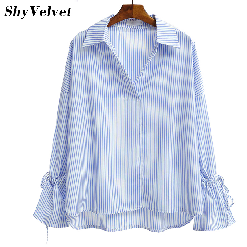 Compare Prices on Striped Blouse Bow Blue White- Online Shopping ...