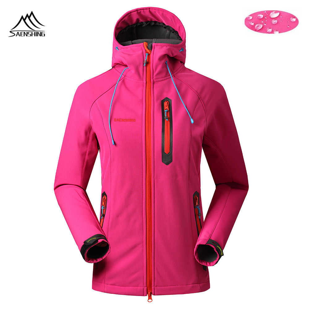 Saenshing Fleece Softshell Jacket Women Outdoor waterproof windproof Camping female Hooded hiking fishing ski clothing - Hefei Bright Garment CO ., LTD store
