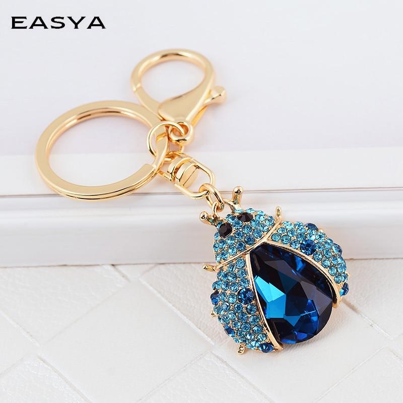 Sparkling Crystal Block Ring Chandelier: EASYA Insect Keychain Women Sparkling Crystal Key Ring