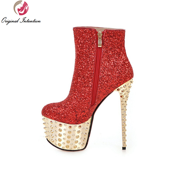 95ad5d2ac403 Ursprüngliche Absicht Frauen Stiefeletten Elegante Plattform Runde Kappe  Dünne Fersen Stiefel Gold Silber Rosa Rot Weiß
