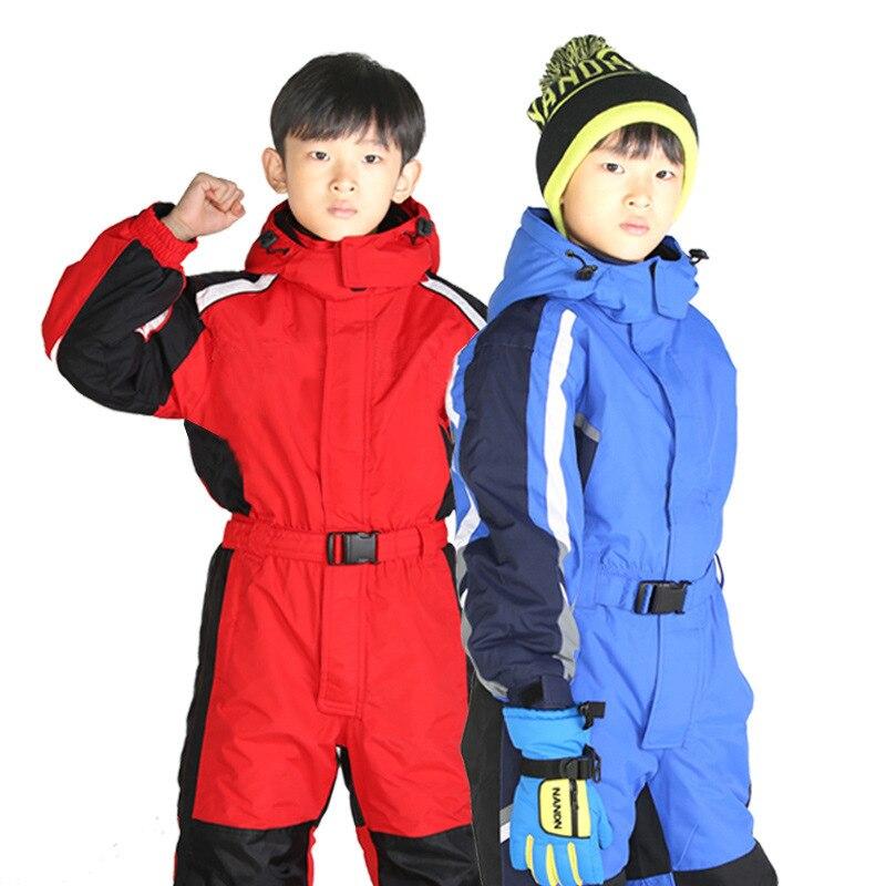 Warm Winter Childrne Ski Suit Set Waterproof Kids Girls Boys Snow Suit 2T 4T 6T Children Romper Overall Windproof Jumpsuit