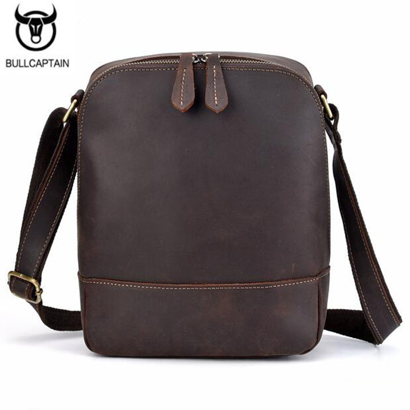 Men Vintage Crazy Horse Cowhide Cross Body Bags Men Messenger Briefcase Brand Trend Vertical High Quality Sling Shoulder Bag