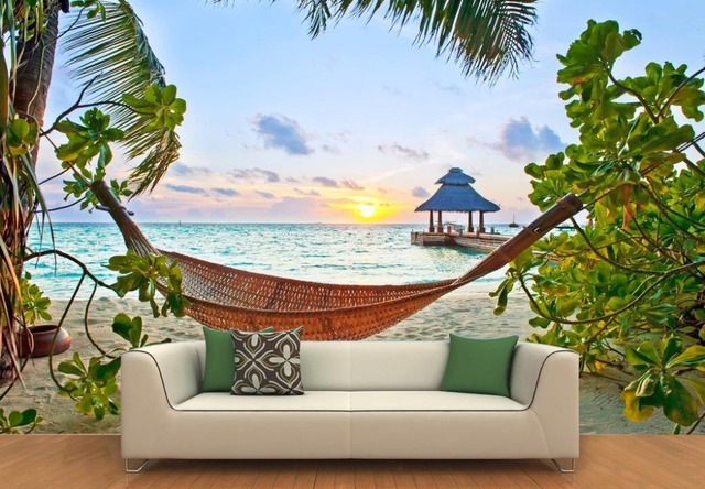 Customized 3d Wallpaper Walls Sunset Beach 3 Room Landscape Backdrop