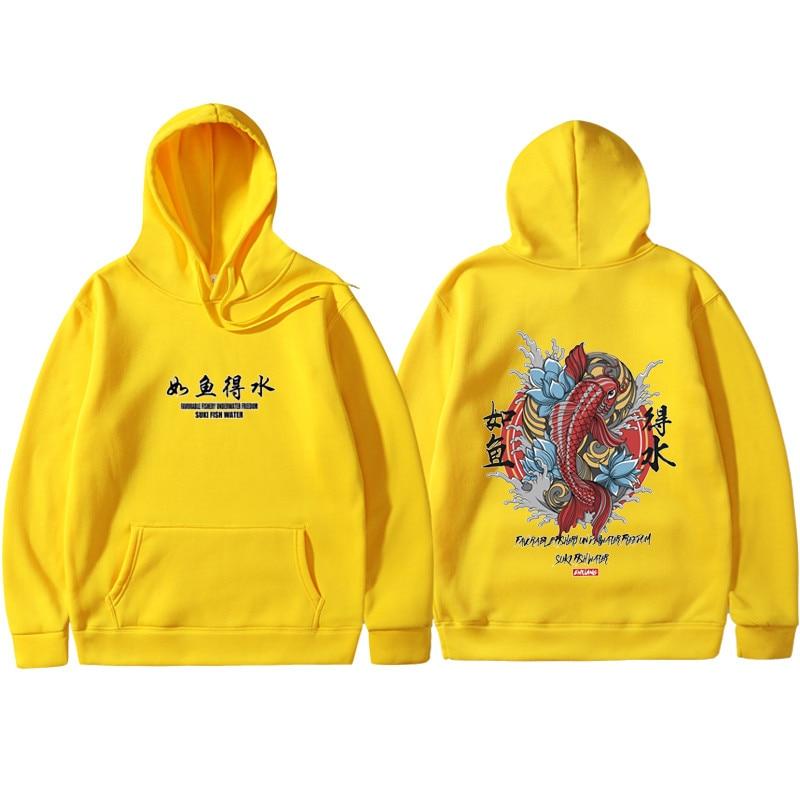 Fashion 2019 New Men Cool Men's Hip Hop Hooded Hoodies Japanese Style Koi Casual Sweatshirts Streetwear Men/Women Pullover