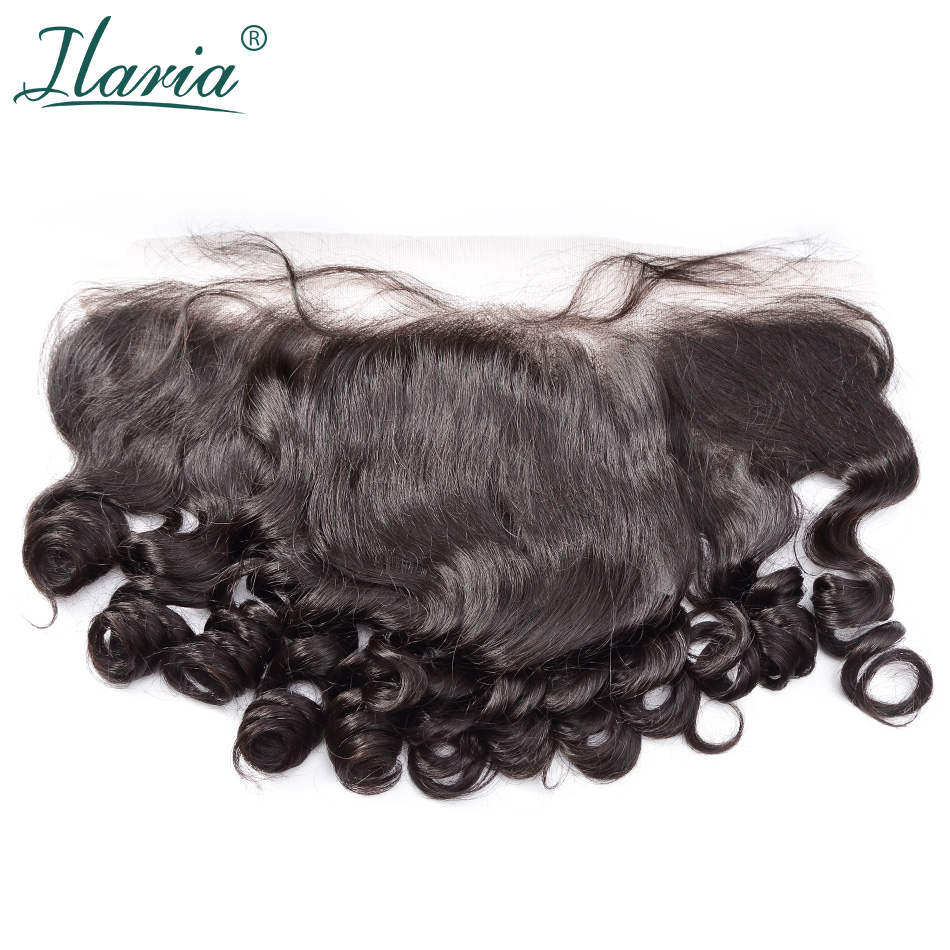 ILARIA HAIR Brazilian Human Hair Lace Frontal Closure With Baby Hair Loose Wave 13x4 Ear To Ear Pre-Plucked With Bleached Knots