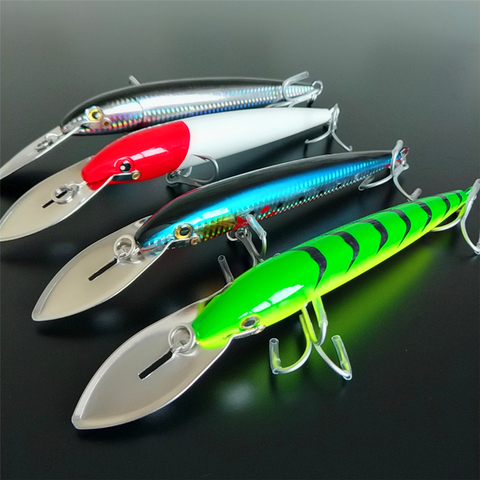 noeby 4 pcs lote lingua grande minnow isca 64 7g 185mm 76g 225mm 4 cores