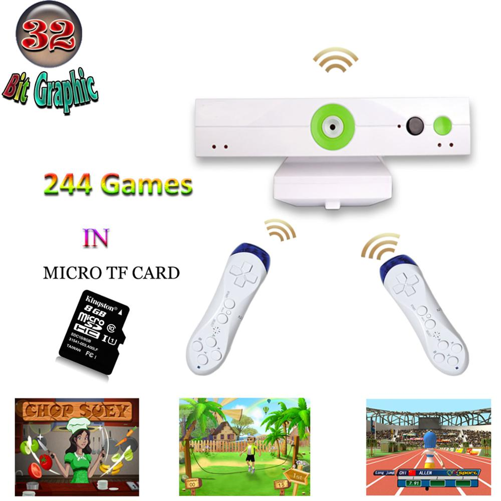 WOLSEN 32 Bit Sport Game Body Motion TV Home video Game Console Wireless Joystick Exercise video