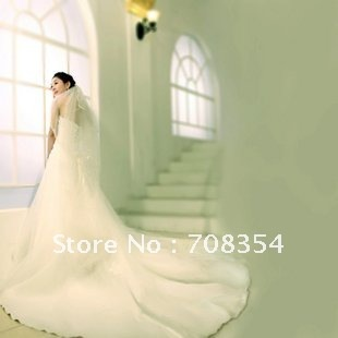 Elegant Tieback  Luxury Trailing Satin + Organza Bride Wedding Dress 190