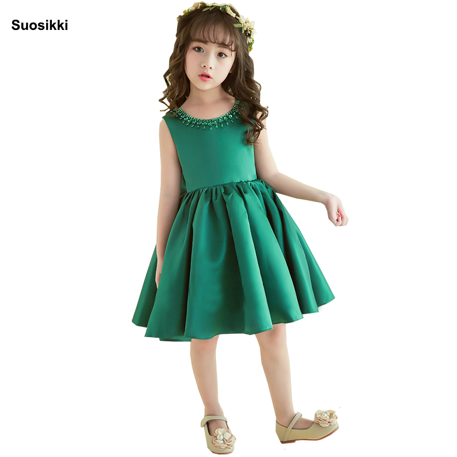 Suosikki Satin   Flower     Girl     Dresses   2018 Beaded Appliqued   Dresses   For   Girls   Kids Prom   Dresses   vestido daminha