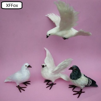 4 pieces a set real life pigeon models plastic&feather different dove bird dolls  xf0043