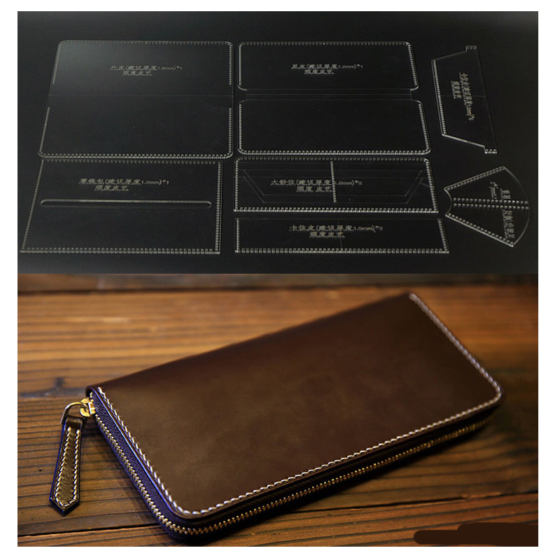N Durable Acrylic Wallet Leather Template DIY Leathercraft Long Zip Wallet Purse Stencil Sewing Pattern 20*10cm circle