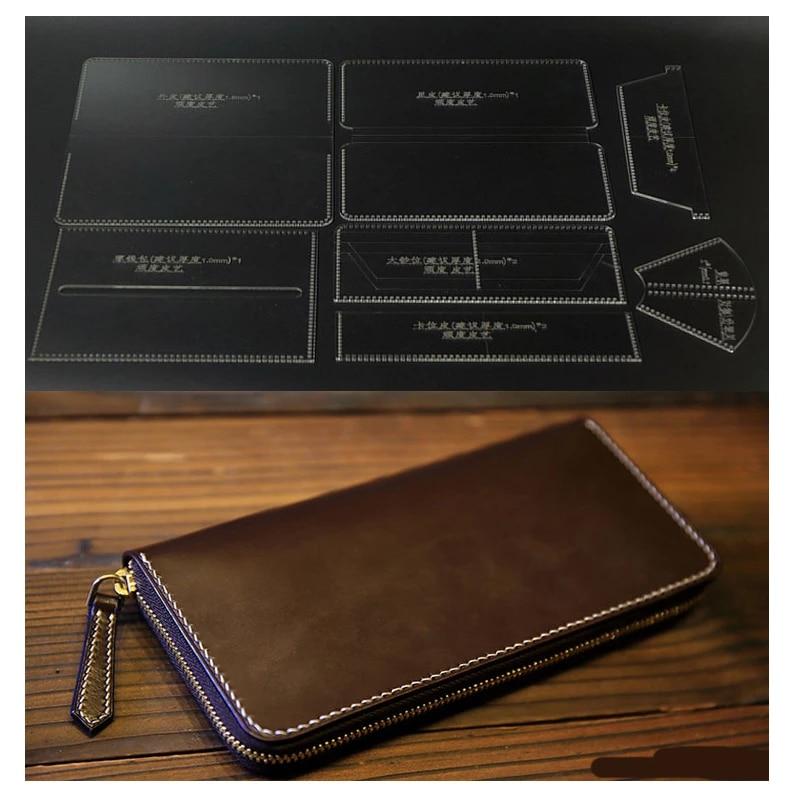 DIY Leather Craft Acrylic Long Zip Wallet Purse Pattern Template Stencil Set