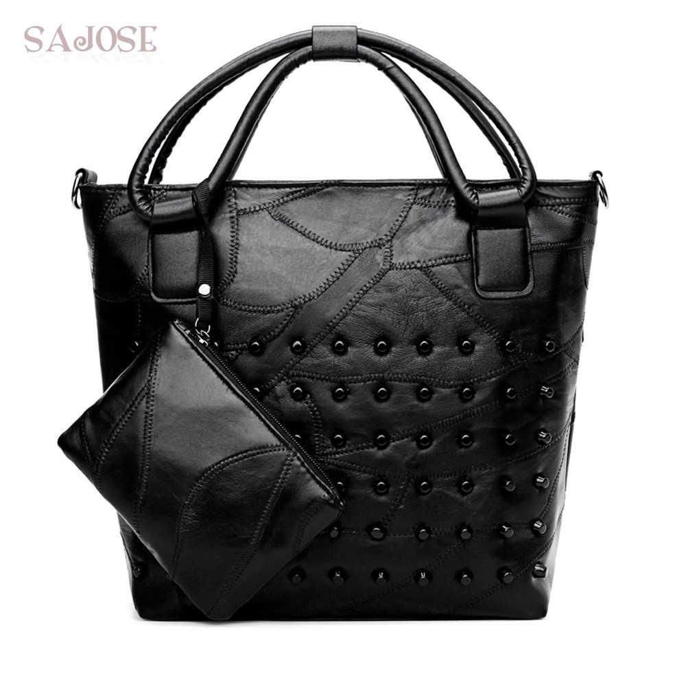 Wanita Tas Busana Keling Tote Tas Untuk Wanita 2 Sets hitam Tas Bahu Besar Eropa Dan Amerika Klasik Kualitas Tinggi SAJOSE