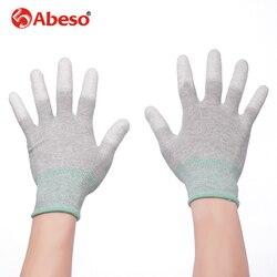 ABESO 2/10 pairs ألياف الكربون الموصلة و PU قفازات الاصبع الإلكترونية لمكافحة ساكنة مع PU قفاز العمل الاستاتيكيه A3002