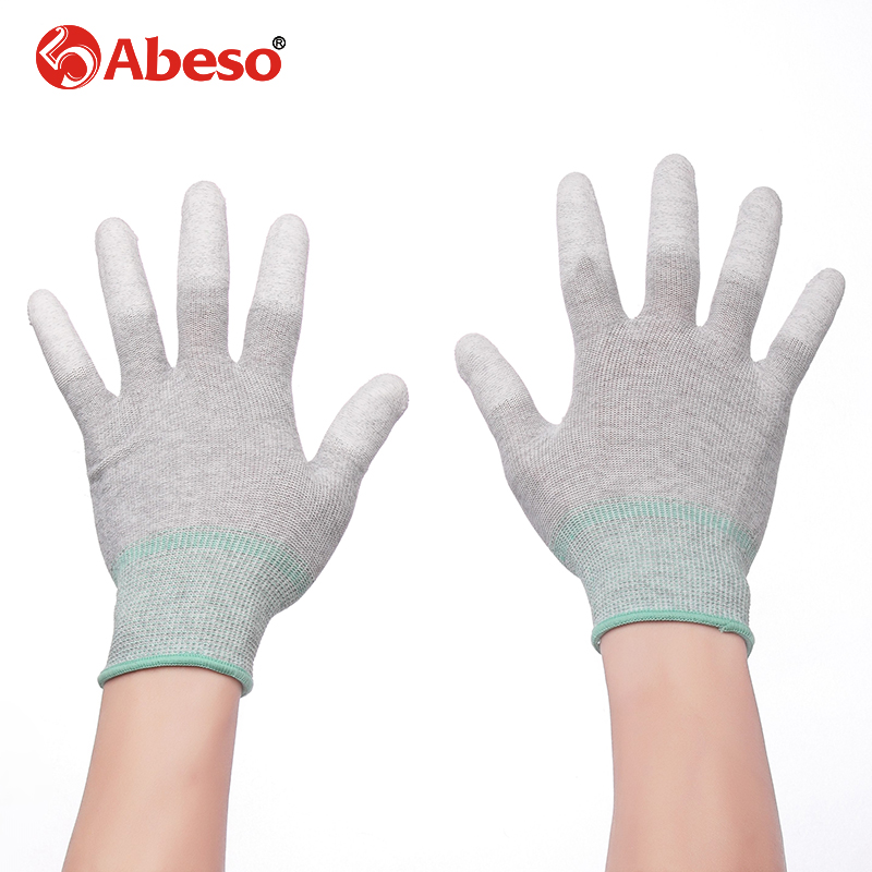 ABESO 2/10 pairs Carbon Conductive fibre & PU Finger electronic Anti-static Gloves With PU AntiStatic Work Glove A3002 abeso 2 10 pairs grey nylon