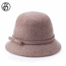 FS Mulheres Aba Larga chapéu de Feltro de Lã Pura Bowler Fedora Preto chapéu  Elegante Bowknot Cloche Cap Chapeau Casuais Retro M.. 9196125a9f0