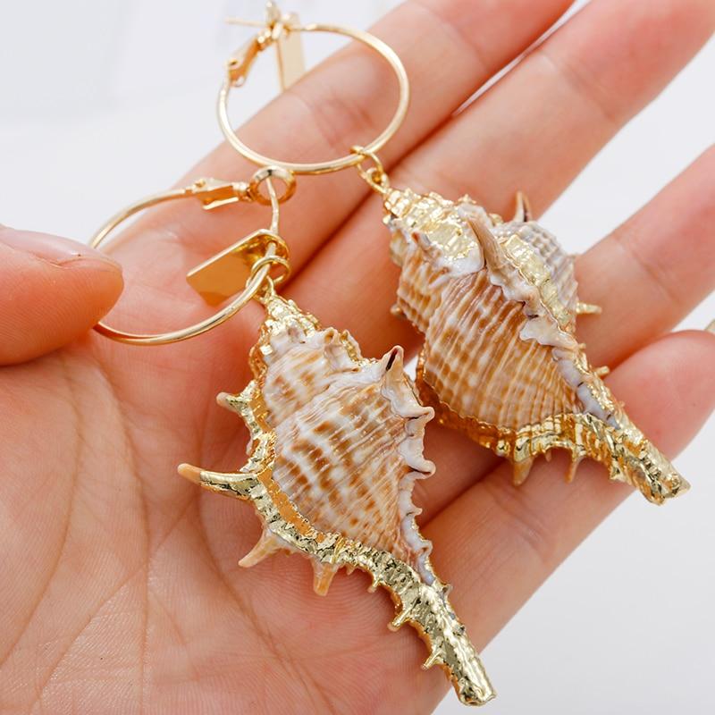 Aensoa Bohemia Shell Gold Long Pendant Drop Earrings Natural