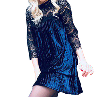 Fashion Pleated Lace Velvet Dress Lace Sleeve Mini Dresses Vestido De Festa Sexy Chirstmas Women Spring