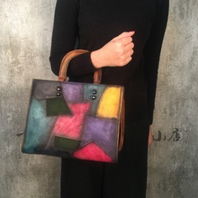 Genuine Leather Vintage Women Handbag Handmade Cowhide Nature skin Top Handle Totes Pachwork Panelled Shoulder Messenger Bag