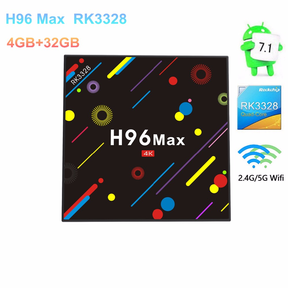 H96 Max Android Android 7.1 Smart TV Box RK3328 Quad Core 4GB/32GB 2.4G/5G Dual WiFi BT4.0 4K VP9 Set TV Box Media Player