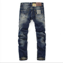Famous Balplein Brand Fashion Designer Jeans Men Straight Dark Blue Color Printed Mens Jeans Ripped Jeans 100 Cotton cheap Denim Full Length Stripe Button Fly Pockets Midweight Regular Medium Solid 9003 Casual 29-40 Dark Color