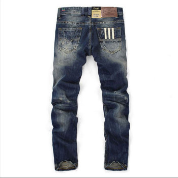 Famous Balplein Brand Fashion Designer Jeans Men Straight Dark Blue Color Printed Mens Ripped Jeans,100% Cotton