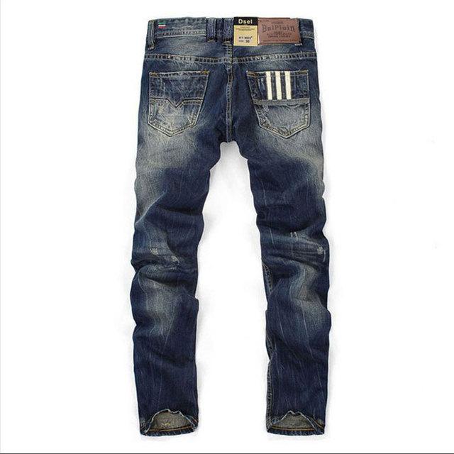 Fashion Designer Jeans Men Straight Dark Blue Color Printed