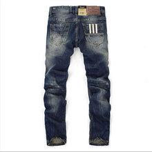 Słynny Balplein Brand Fashion Designer Jeans mężczyźni Straight ciemny niebieski kolor drukowane mężczyźni Jeans zgrywanie dżinsy 100 bawełna tanie tanio Mężczyzn Denim Pełna długość Połowie Pasek Przycisk Fly Proste Kieszenie Plac balplein Midweight Regularne Średni