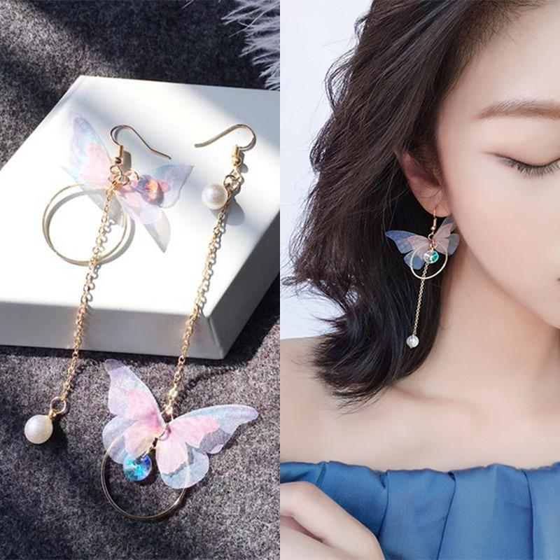 Korean Retro Asymmetric Butterfly Imitation Pearl Earrings Fashion Round Flower Brincos Long Statement Wings Earrings Jewelry