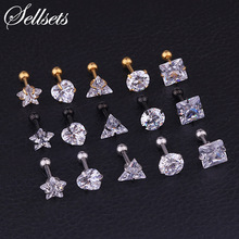 Sellsets 2 pcs 3/4/5 / 6mm Kristal Zircon Tragus Piercing Telinga Cartilage Earrings 316L Bedah Baja Tubuh Perhiasan Helix Piercing