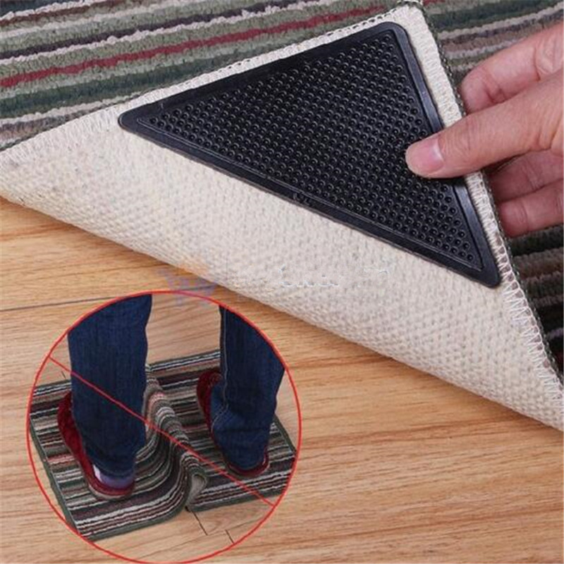 4pcs Rug Carpet Mat Grippers Non Slip Reusable Washable Silicone Grip For Home Bath Living Room