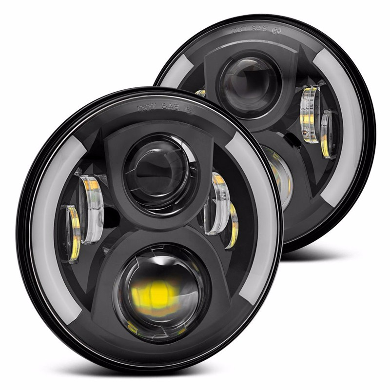 Round Black LED Projector Headlights with Switchback Halo