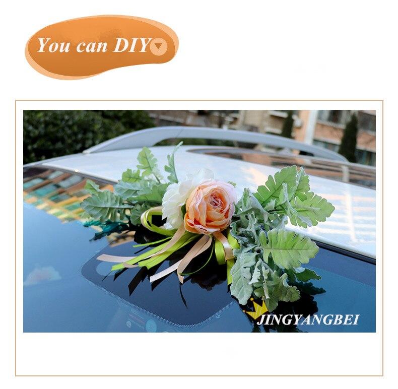 Luxo Silk Rose flor do carro do Casamento da Fita da flor Artificial set decoração fontes do casamento - 6