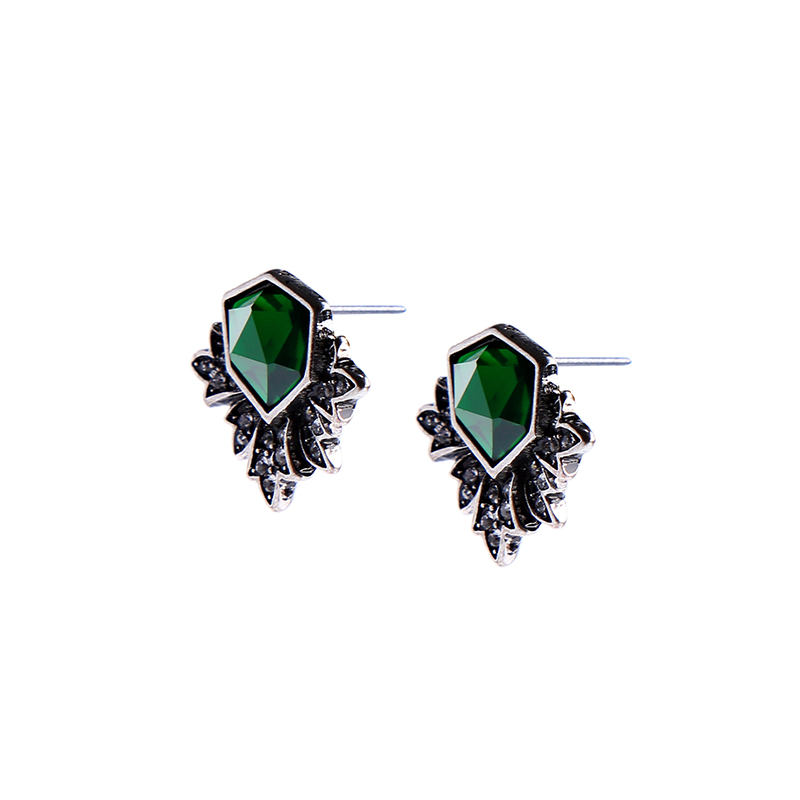 KISS ME Antique Silver Color Green Stud Earrings Fashion Jewelry New - Fashion Jewelry - Photo 4