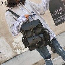 VMOHUO 2018 New Women Leather Backpack Black Bolsas Mochila Feminina Large School backpacks for teenage girls Lady Travel Bag women leather backpack pink bolsas mochila feminina large girl schoolbag travel bag genuine leather lady backpacks candy color